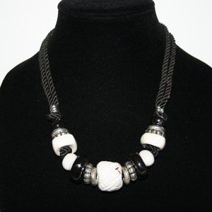 White black and silver chunky rope necklace